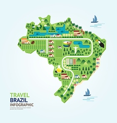 Infographic travel and landmark brazil map shape vector
