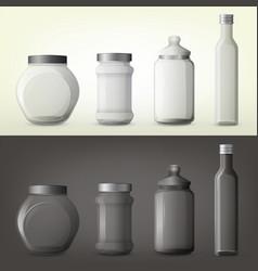Jar or glass bottles for spice or seasoning vector