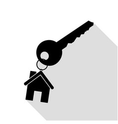 key with keychain as an house sign black icon vector image vector image