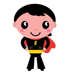 Little cute superhero boy isolated on white vector