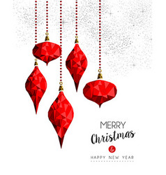Red ornament decoration baubles for christmas card vector