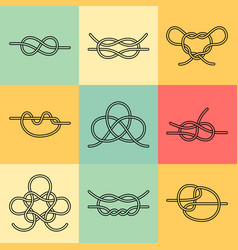 Sea knots - outline icons vector