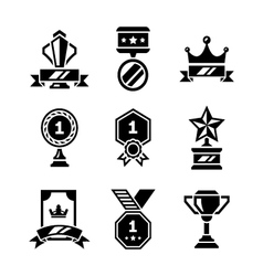 Set icons of awards and trophy vector image vector image