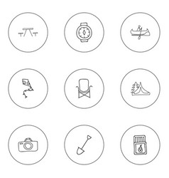 Set of 9 editable trip doodles includes symbols vector