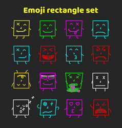 Set of colorful emoticons emoji flat backgound vector