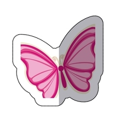 Sticker with a pink butterfly vector