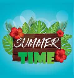 summer time poster with palm leaves tropical vector image vector image