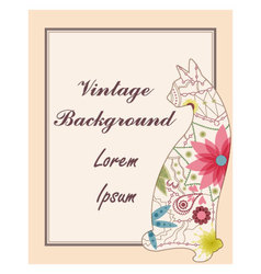 Vintage-back-with-cat vector