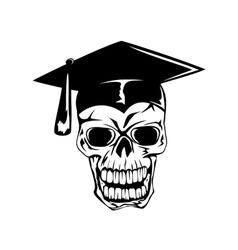 Skull in graduation cap vector