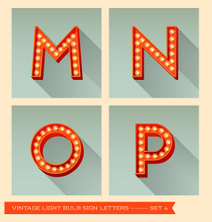 Vintage light bulb sign letters m n o p vector