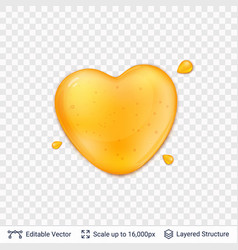 Heart shaped honey drop on transparent background vector