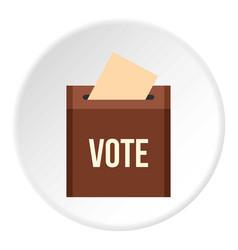 Brown ballot box for collecting votes icon circle vector