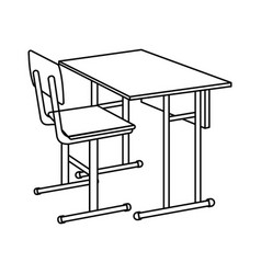 outline school desk icon isolated vector image