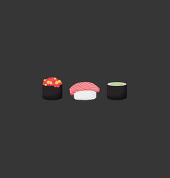 sushi flat icon set vector image