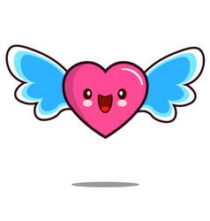 heart cartoon character icon kawaii with wings vector image