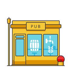 pub building flat line  concept vector image