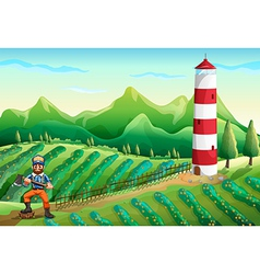 A farm with a tower and a lumberjack vector image