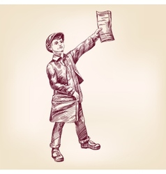 Paperboy selling news papers hand drawn vector