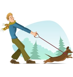 Cartoon man tries to keep a small dog on lead vector