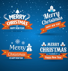 Happy new year merry christmas set vector
