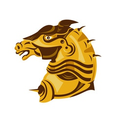 Horse armored head side vector