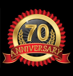 70 years anniversary golden label with ribbons vector image
