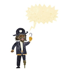 Cartoon pirate captain with speech bubble vector