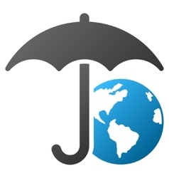 Earth umbrella gradient icon vector