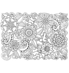Hand drawn pattern with flowers ornate pattern vector