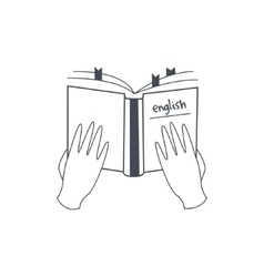 Hands Holding English Language Manual vector image