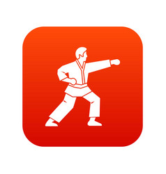 Aikido fighter icon digital red vector