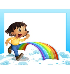An empty template with a young girl running and a vector image vector image