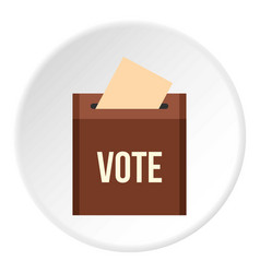 Brown ballot box for collecting votes icon circle vector