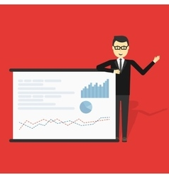 Businessman showing market share graph vector image vector image