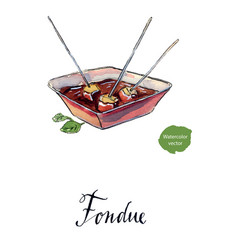 Chocolate cheese fondue traditional swiss food vector