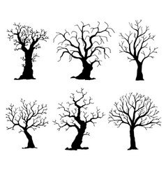 collection of trees silhouettes tree vector image