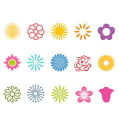color flower icons set vector image vector image