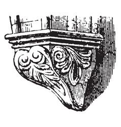 Corbel deeply keyed vintage engraving vector