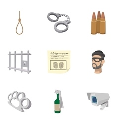 Crime icons set cartoon style vector