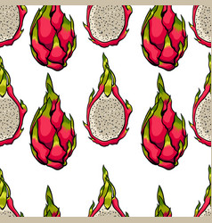exotic seamless pattern dragon fruits on vector image vector image