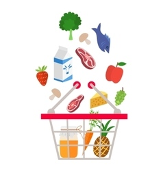 Food and drink products falling down into basket vector