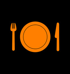 Fork plate and knife orange icon on black vector