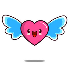 Heart cartoon character icon kawaii with wings vector
