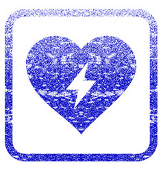 Heart power framed textured icon vector