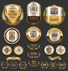 Luxury golden labels retro vintage collection 1 vector