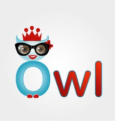 Nerd owl wearing a crown vector