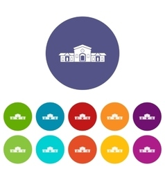 Railway station building set icons vector image vector image
