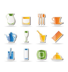 restaurant and cafe icons - vecto vector image