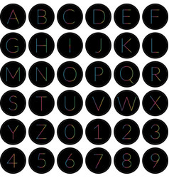 round alphabet icons black vector image vector image