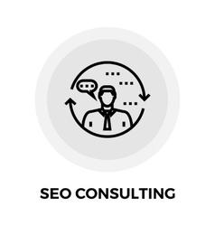 Seo consulting line icon vector